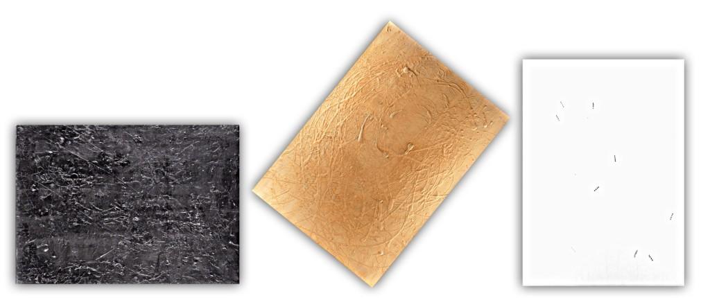 P. P. 5 trittico - tecnica mista su tela cm 50 x 70 ciascuna tela